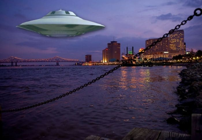 A superimposed UFO off the Gulf Coast