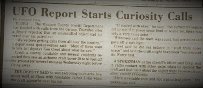Newspaper clipping of the Flora UFO incident