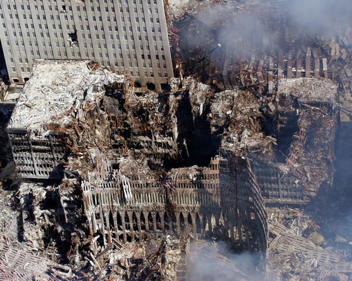 The rubble and ruins after the collapse of the Twin Towers