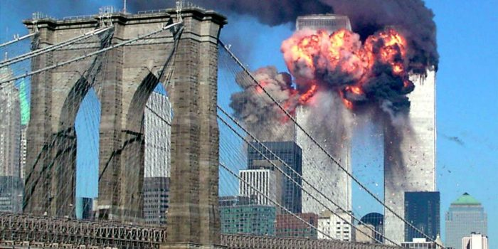 Explosion of the second plane hitting the Twin Towers Sept. 11th 2001