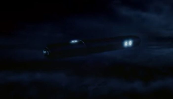 Artist's impression of the cigar shaped UFO