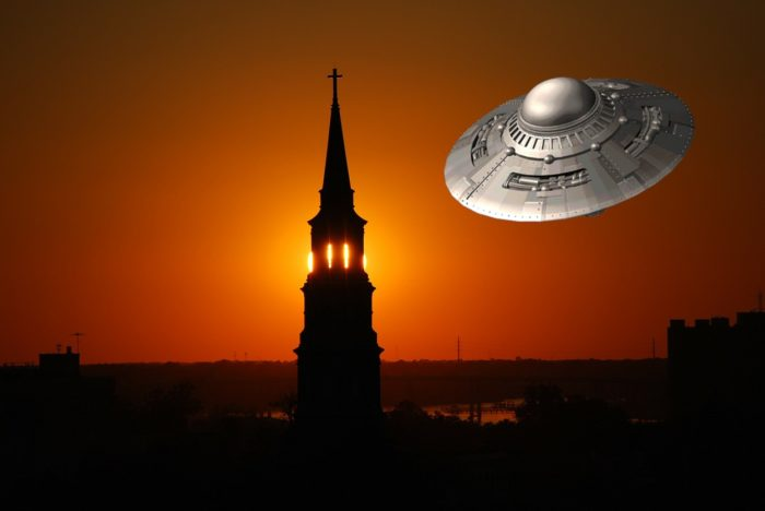 A superimposed UFO over a night shot of North Carolina