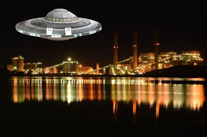 A superimposed UFO over a river in North Carolina