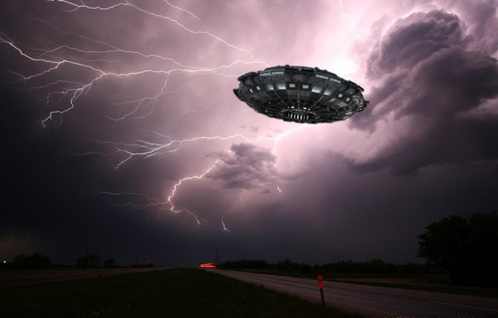 A depiction of a UFO in a lightning sky