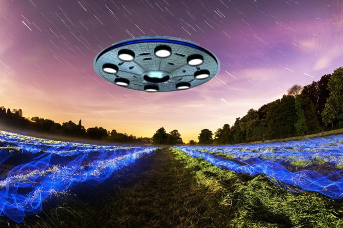 A superimposed UFO over a field with static electricity