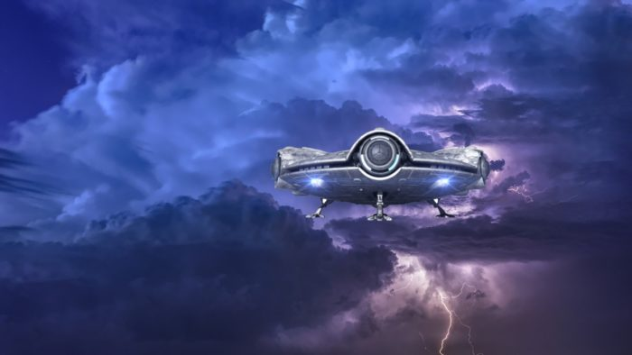 A superimposed UFO on a stormy sky