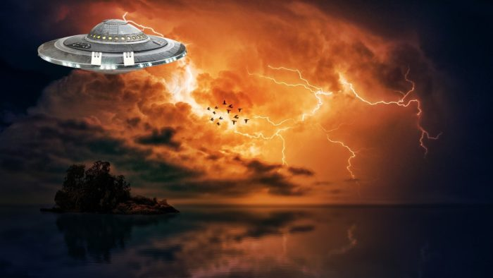 A depiction f a UFO in a stormy sky