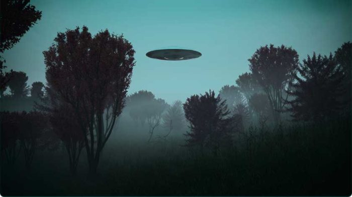 A depiction of a UFO hovering over a dark forest
