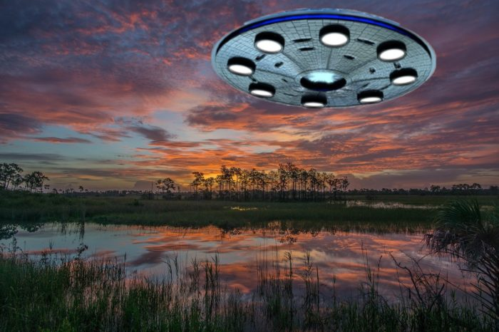 A superimposed UFO over the Florida Everglades