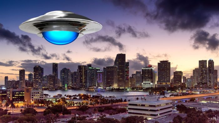 A depiction of a UFO of a Florida city