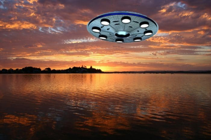 A superimposed UFO on a picture of a Florida lake