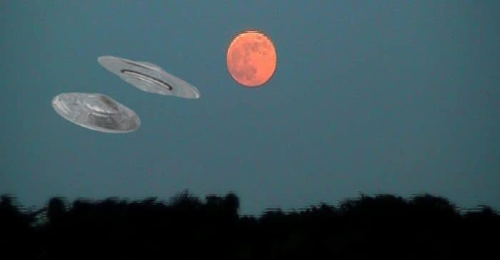 Two superimposed UFOs onto a picture of the Moon at early evening