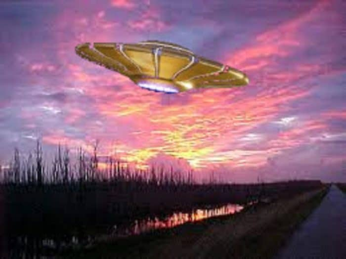 A superimposed UFO over the Everglades