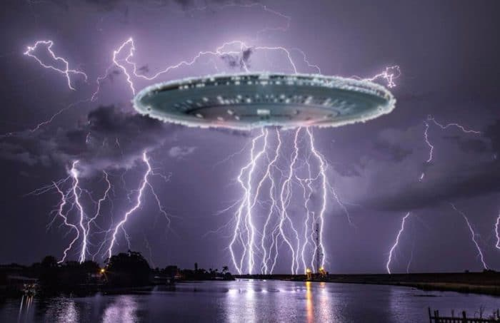 A superimposed UFO over water with a lightning sky