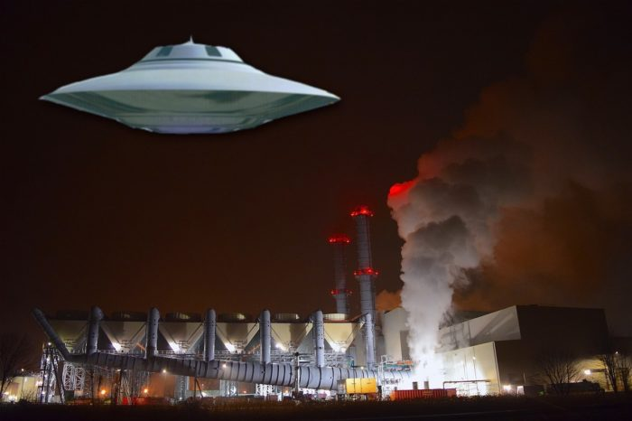 A depiction of a UFO over the Newport Chemical Depot