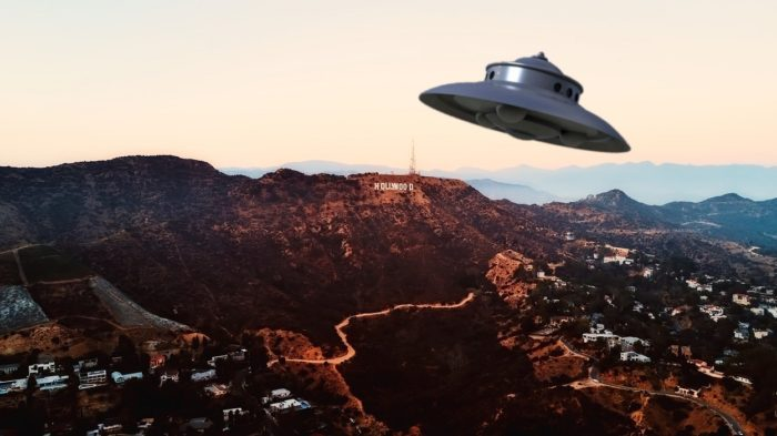 A superimposed UFO over Hollywood