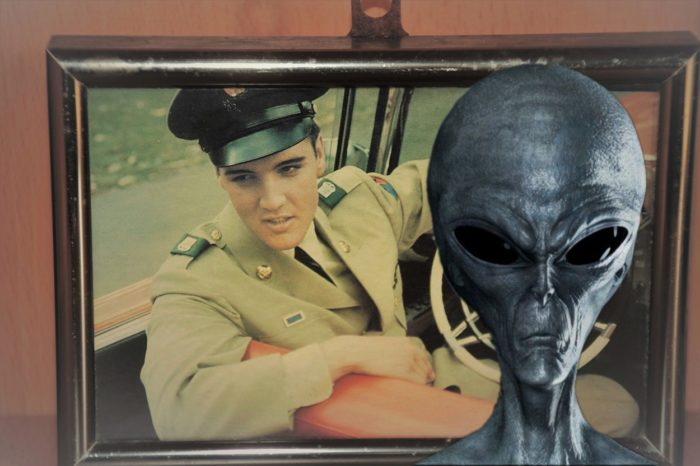 A picture of an alien entity superimposed over a picture of Elvis