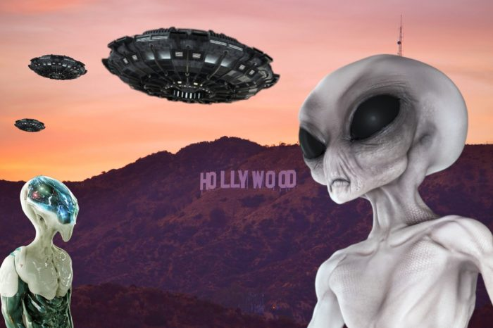 Superimposed aliens and UFOs over an image of the Hollywood sign