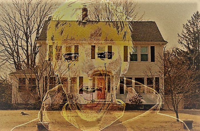 The Connecticut house with a screaming entity superimposed over the top