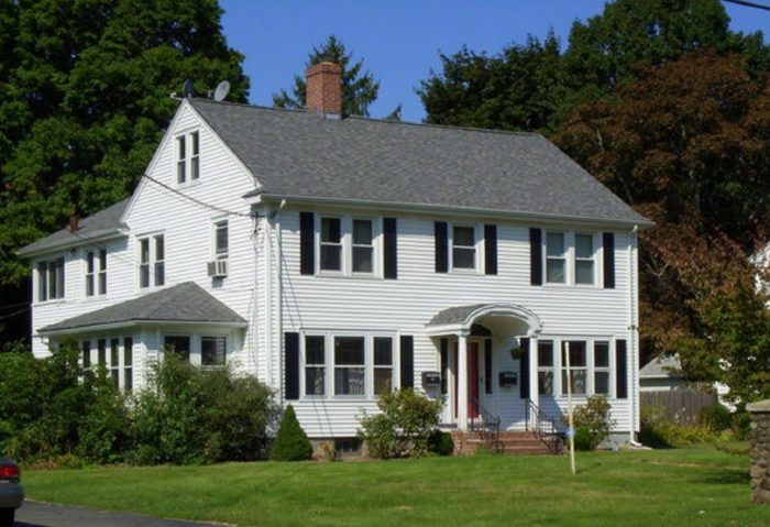 A shot of the exterior of the Connecticut house