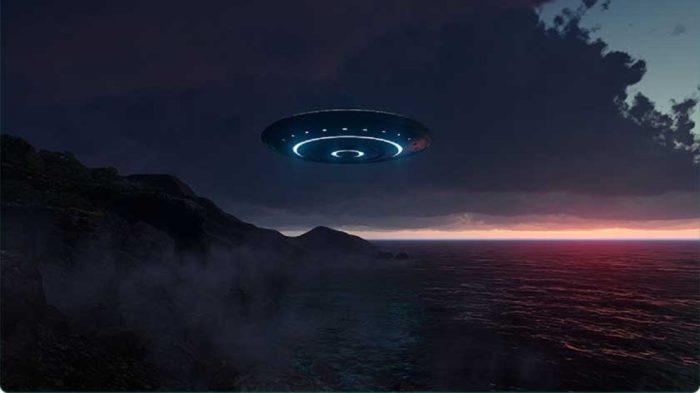A depiction of a UFO over a lake at night