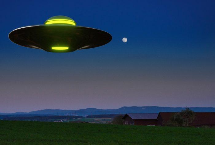 A superimposed UFO on a Texan farm