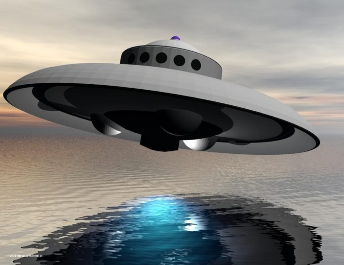 A depiction of a UFO flying over water