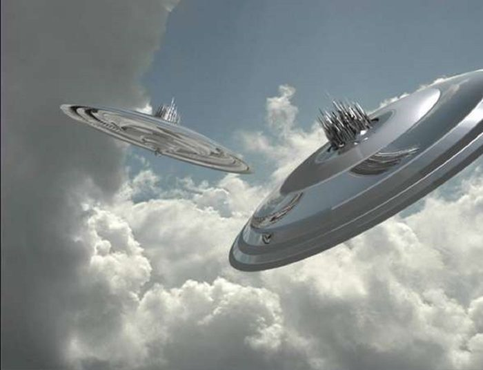 A depiction of two UFOs in a cloudy sky