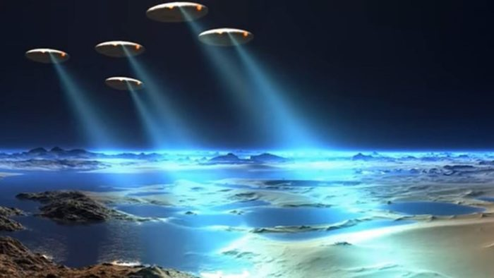 Depiction of a fleet of UFOs over the Earth