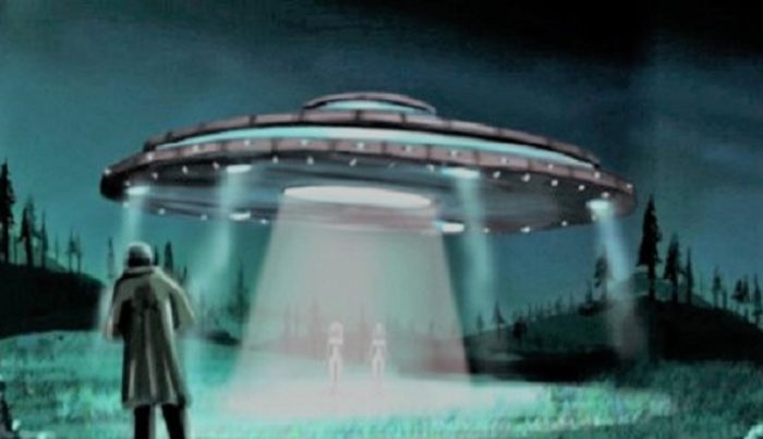 Artist's impression of a close encounter with a UFO