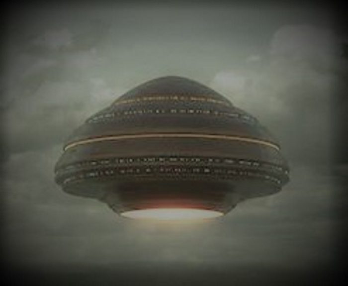 A depiction of a mushroom shaped UFO
