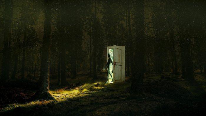 An image of an alien walking through a doorway