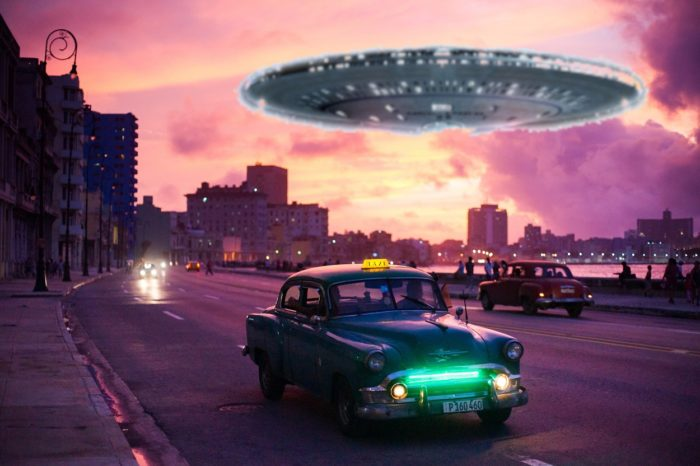 A superimposed UFO hovering over a Cuban city