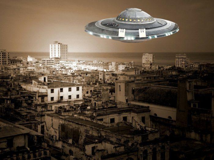 A superimposed UFO over a Cuban city