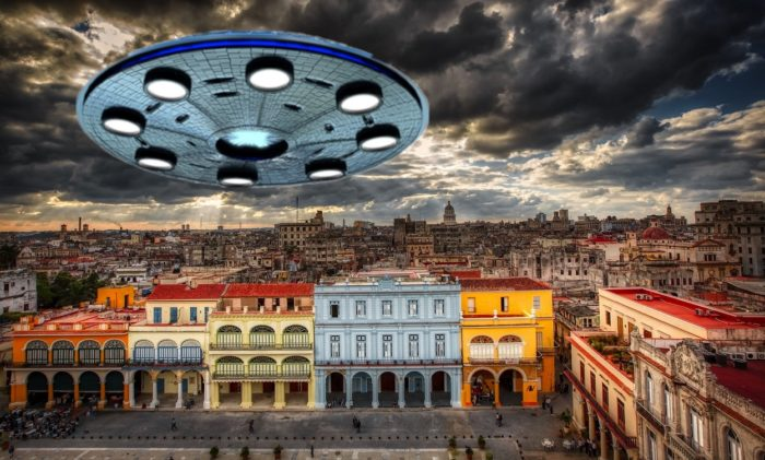A superimposed UFO over a Cuban town