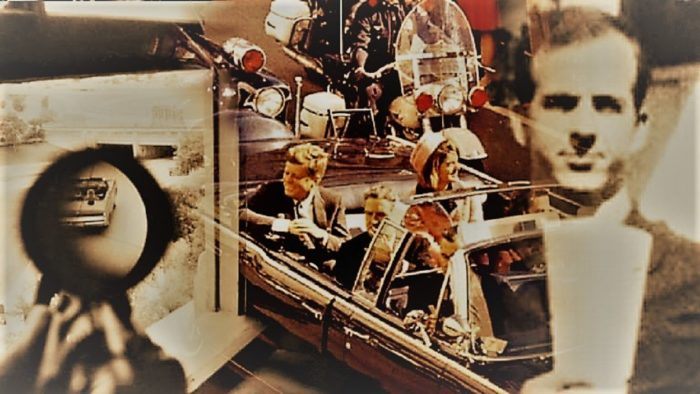 JFK in presidential car with blended image of gun target and Lee Harvey Oswald