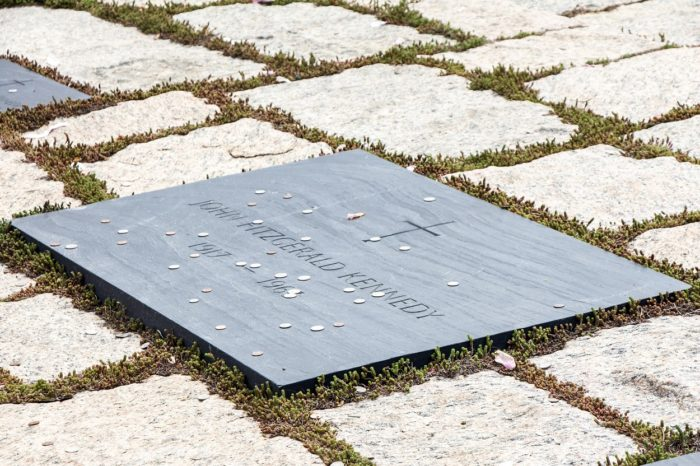 Plaque for John F. Kennedy on the ground