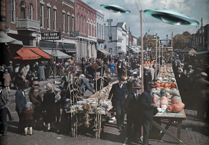 Superimposed UFOs over a typical 1920s street scene
