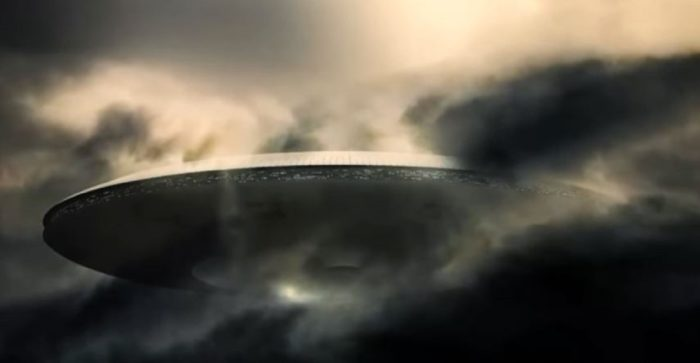 A depiction of a UFO emerging from clouds