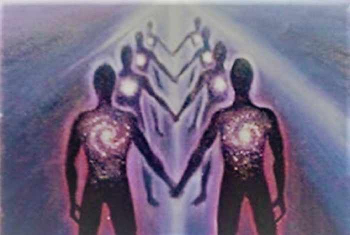 An image of angelic beings joining hands in a line