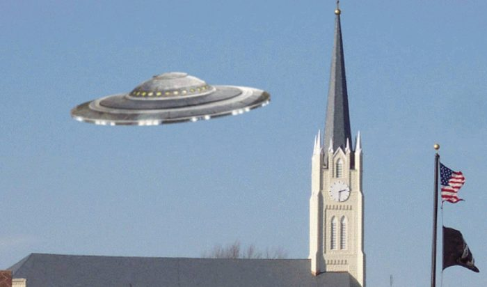 A superimposed UFO over a church in Indiana