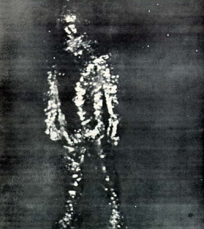A picture from 1973 claiming to show a metallic alien