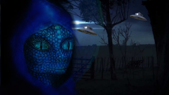 An artist's impression of the reptilian entity blended into a picture of UFOs