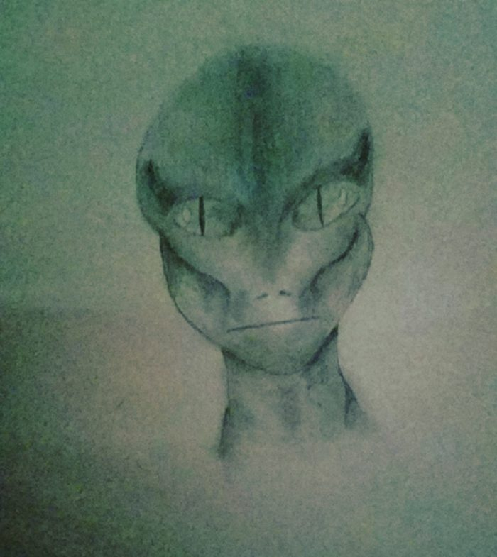 A witness sketch of a reptilian entity