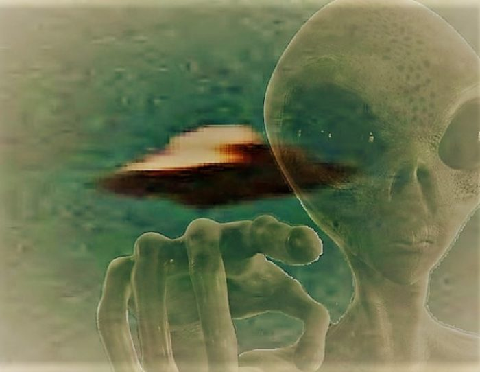 A picture of an alleged UFO with an alien face blended over the top