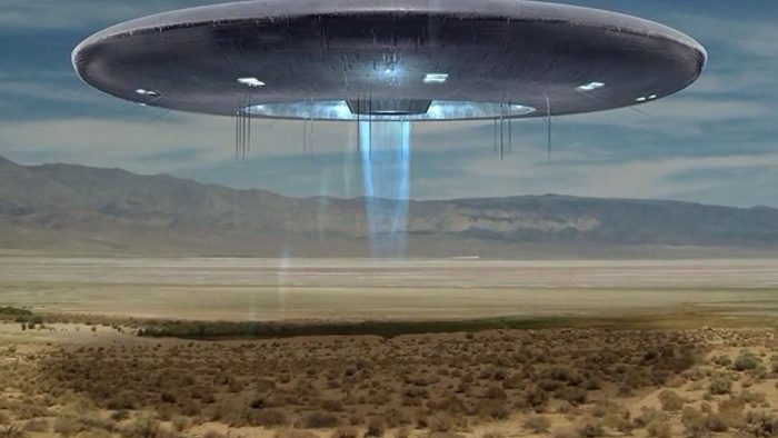 An artist's impression of low-hovering UFO