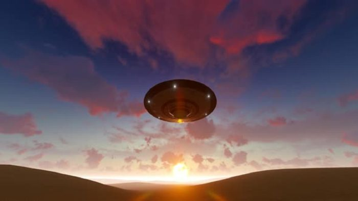 A depiction of an ascending UFO