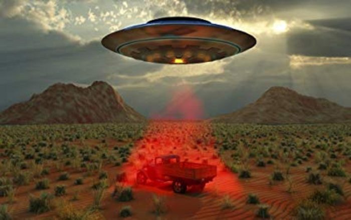 A depiction of a UFO with a truck in a red tractor beam