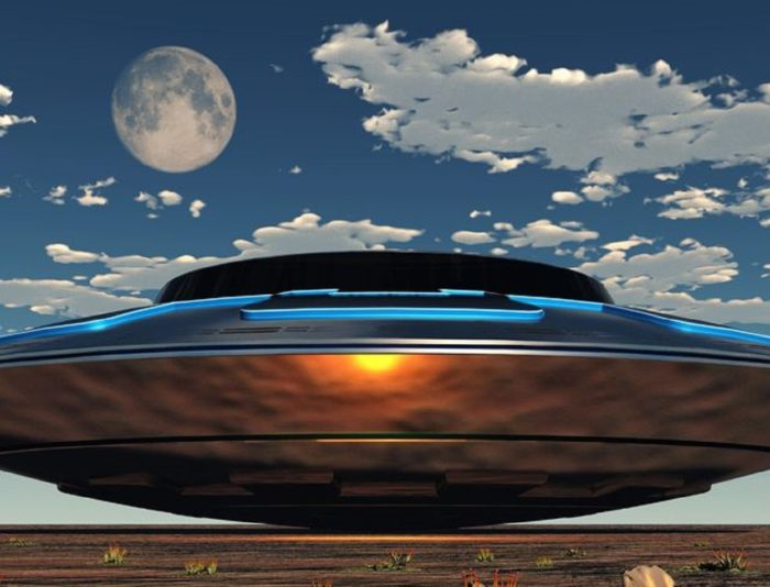 An artist's impression of a shiny UFO