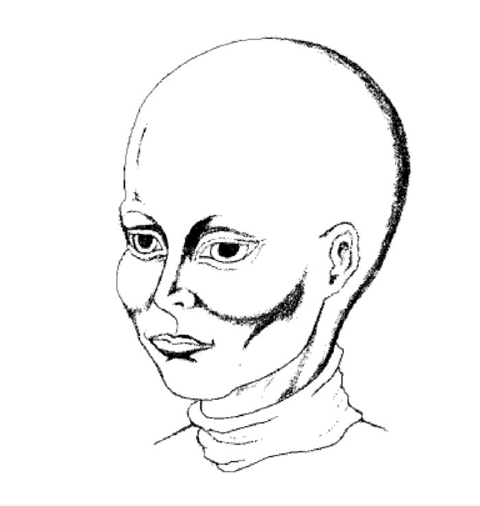 A witness sketch of one of the UFO occupants